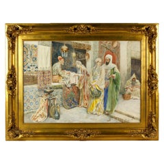 Market Scene by Ettore Simonetti, Signed Watercolor Painting