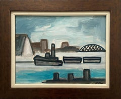 Tugboat on a river with bridge and buildings. Title - Tugboat on the River
