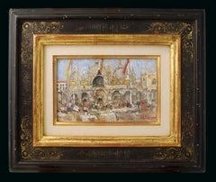 'La Basilique Saint Marc' Vibrant Venetian Street Scene of St Marcs Square