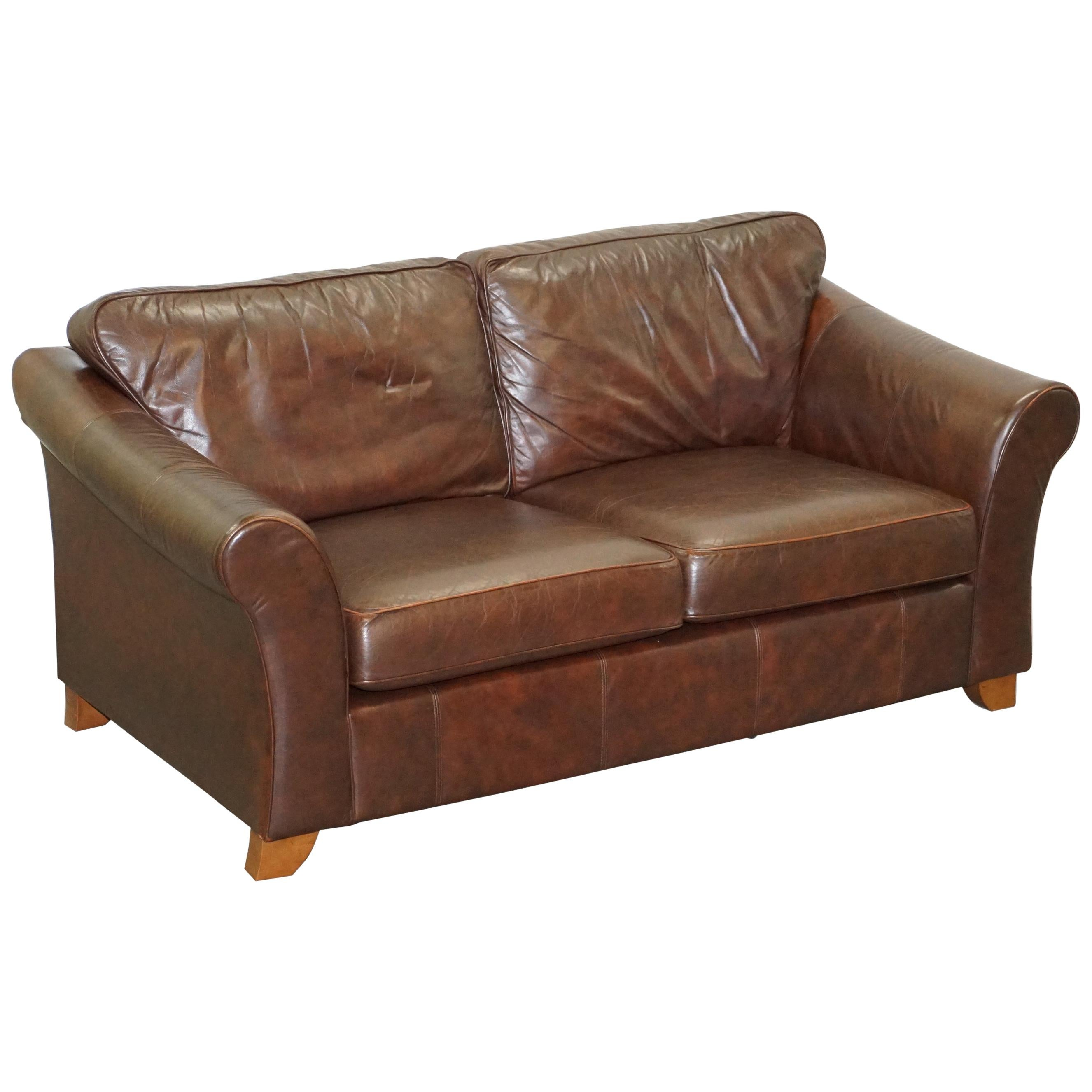 Marks & Spnecers Abbey Brown Leather Sofa Part of Suite with Armchairs