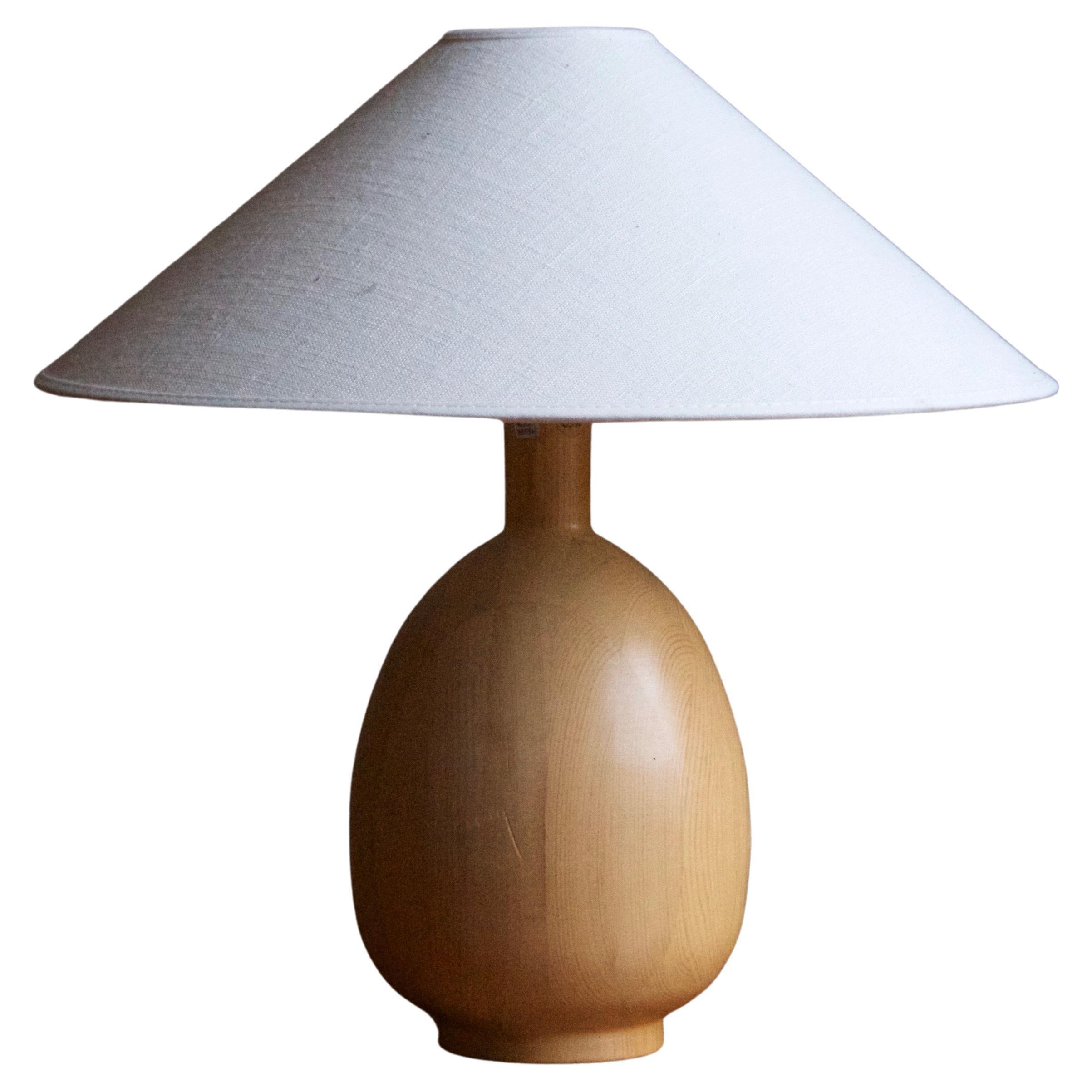 Markslöjd, Minimalist Table Lamp, Solid Pine, Kinna, Sweden, c. 1970s
