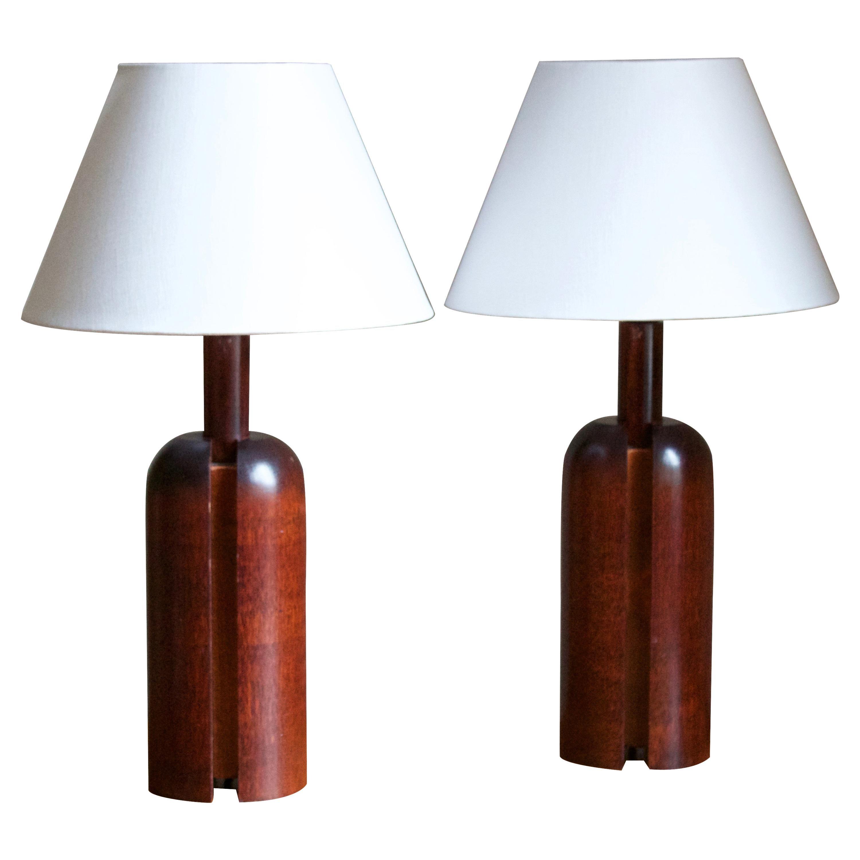 Markslöjd, Minimalist Table Lamps, Stained Pine, Linen, Kinna, Sweden, c. 1970s