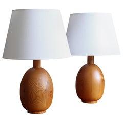 Markslöjd, Sizeable Minimalist Table Lamps, Solid Pine, Kinna, Sweden, c. 1970s