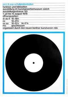 """Jazz & Pop Schallplattenhullen (Blue)"" Swiss Music Exhibition Original Poster"