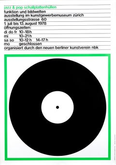 """Jazz & Pop Schallplattenhullen (Green)"" Swiss Music Exhibition Original Poster"