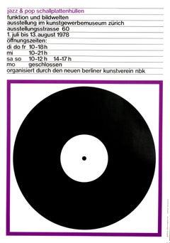 """Jazz & Pop Schallplattenhullen (Purple)"" Swiss Music Exhibition Original Poster"