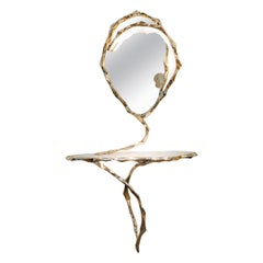 Markus Haase, Bronze and Marble Console with Bronze Mirror, DE