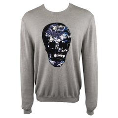 MARKUS LUPFER Size L Gray Sequin Skull Merino Wool Pullover Sweater