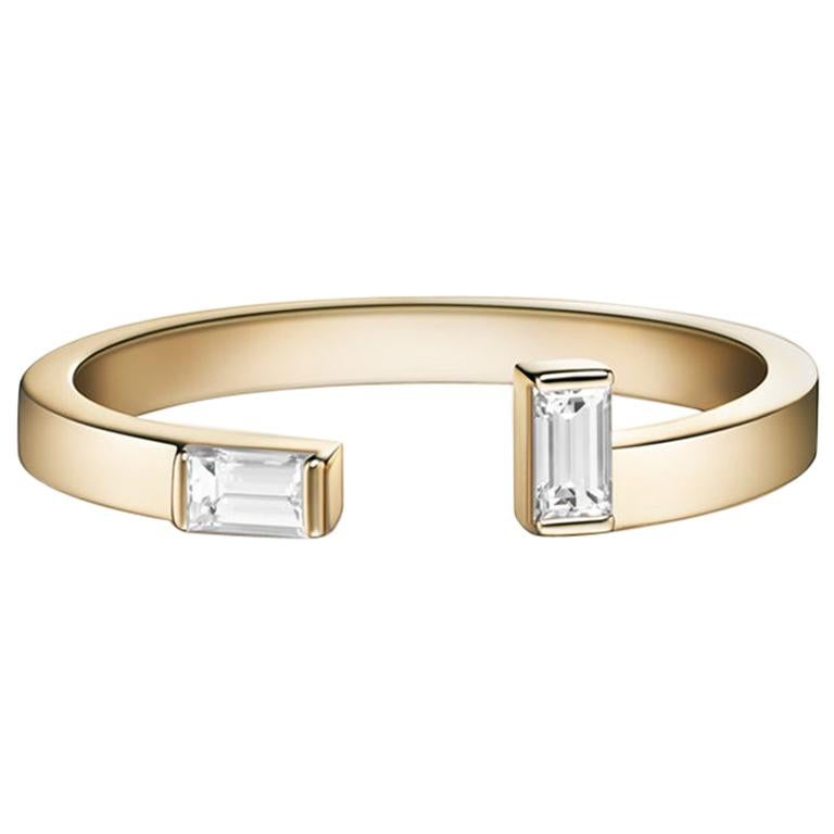 Marla Ring, Geometric Yellow Gold and Baguette Diamond Ring For Sale