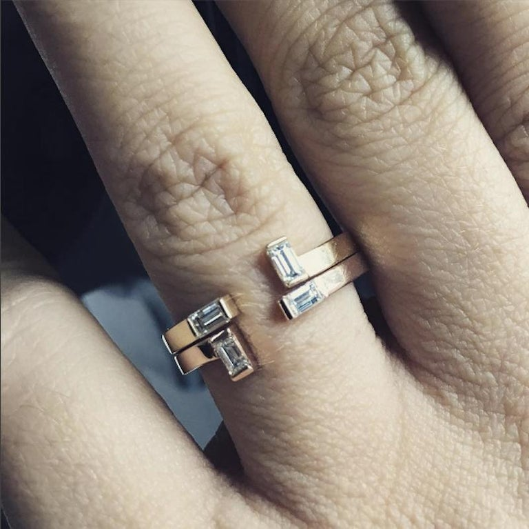 Baguette Cut Marla Ring, Geometric Yellow Gold and Baguette Diamond Ring For Sale
