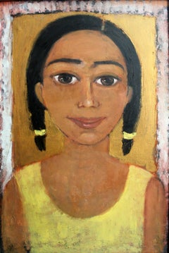 Girl in a yellow shirt - Oil figurative painting, Portrait, Warm tones