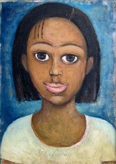 Portrait - Oil figurative painting, Blue, Warm tones, Big eyes