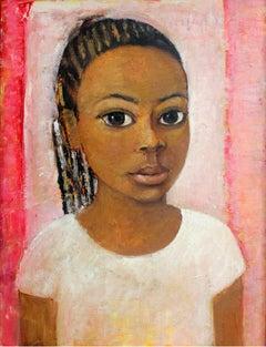 Portrait - XXI century, Oil figurative painting, Pink, Warm tones, Big eyes