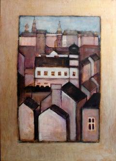 View of Cracow - 21 century, Oil figurative painting, Landscape, Warm tones