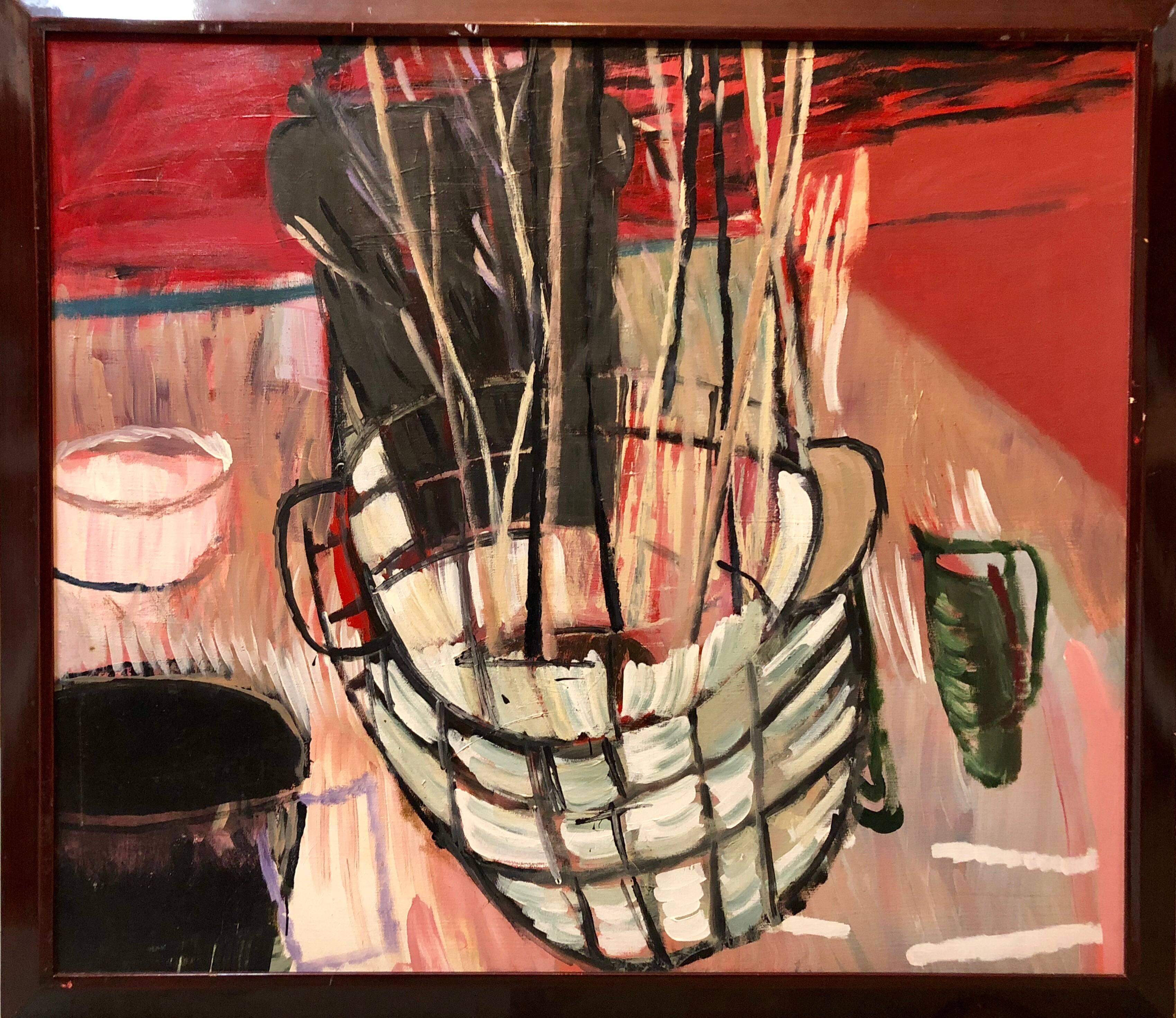 Large Modernist Figurative Abstract Oil Painting BASKET