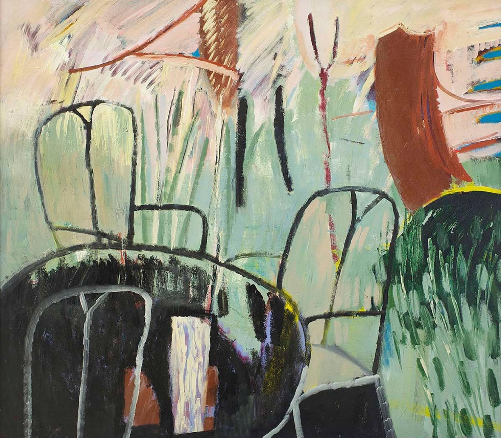 Large Modernist Figurative Abstract Oil Painting GARDEN