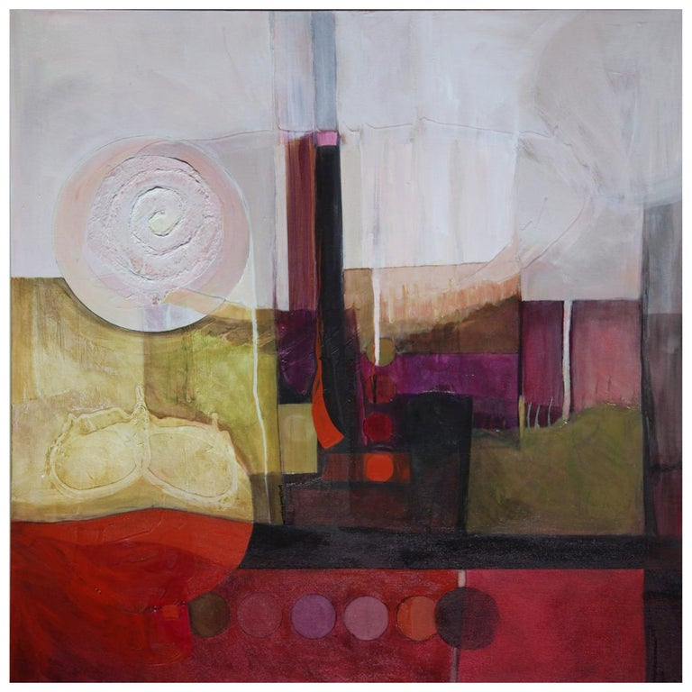 Marlene Burns Modern Abstract Acrylic Mixed-Media Painting Drama Too, 2009  For Sale