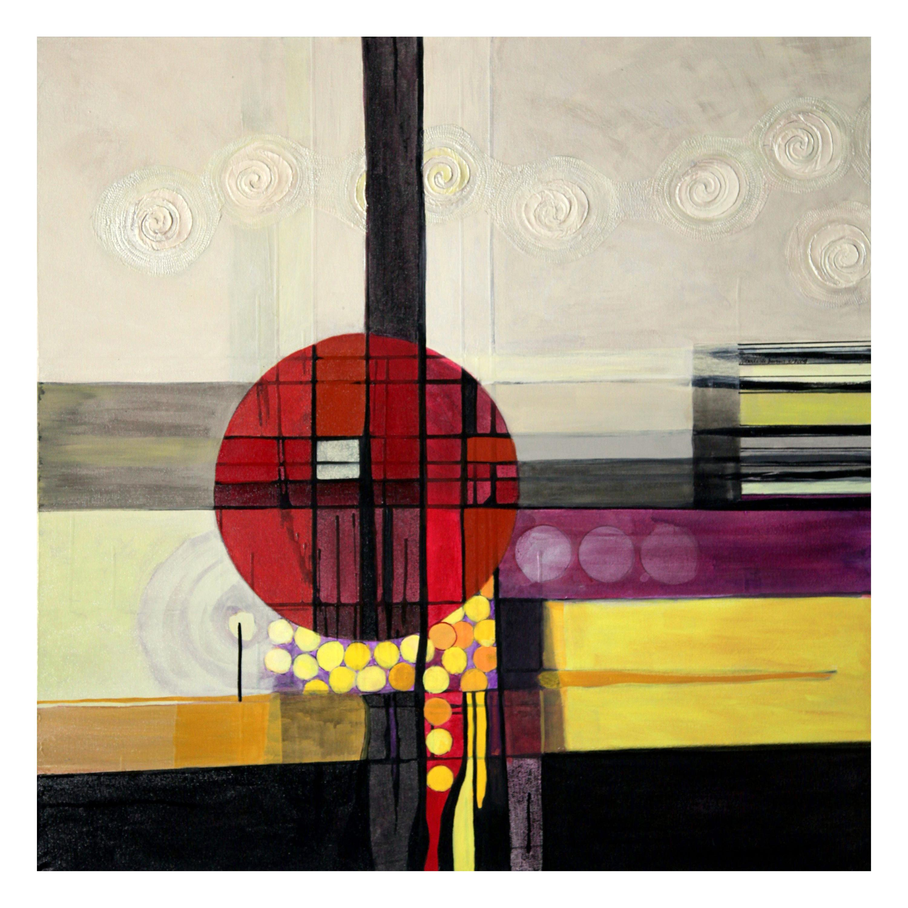 Marlene Burns Modern Abstract Acrylic Mixed-Media Painting Lost My Marbles, 2009