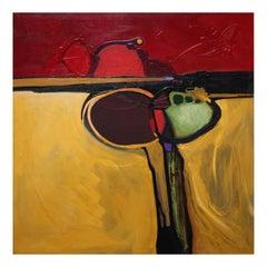 Marlene Burns Modern Abstract Acrylic Mixed-Media Painting New Moon Rising, 2003