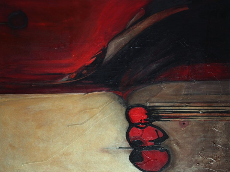 Modern abstract, acrylic painting; titled Ballz by Marlene Burns a conceptual fine artist; mixed-media: Acrylic paint, airbrush ink, on canvas. Gallery wrapped, finished sides, circa 2008. Front and back signatures. Approximate size: 36