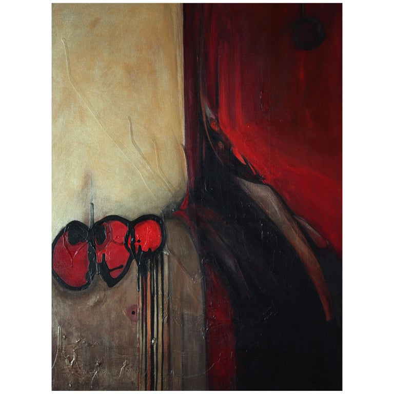 Marlene Burns Modern Abstract Acrylic Mixed-Media Painting Titled Ballz, 2008 For Sale