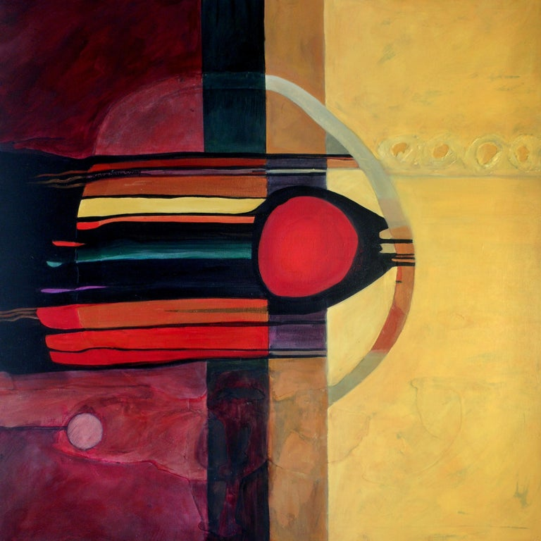 Modern abstract, acrylic painting; titled Drama Two by Marlene Burns a conceptual fine artist; mixed-media: Acrylic paint, airbrush ink, molding paste on canvas. Front and back signatures; Gallery wrapped, finished sides, circa 2009. Approximate