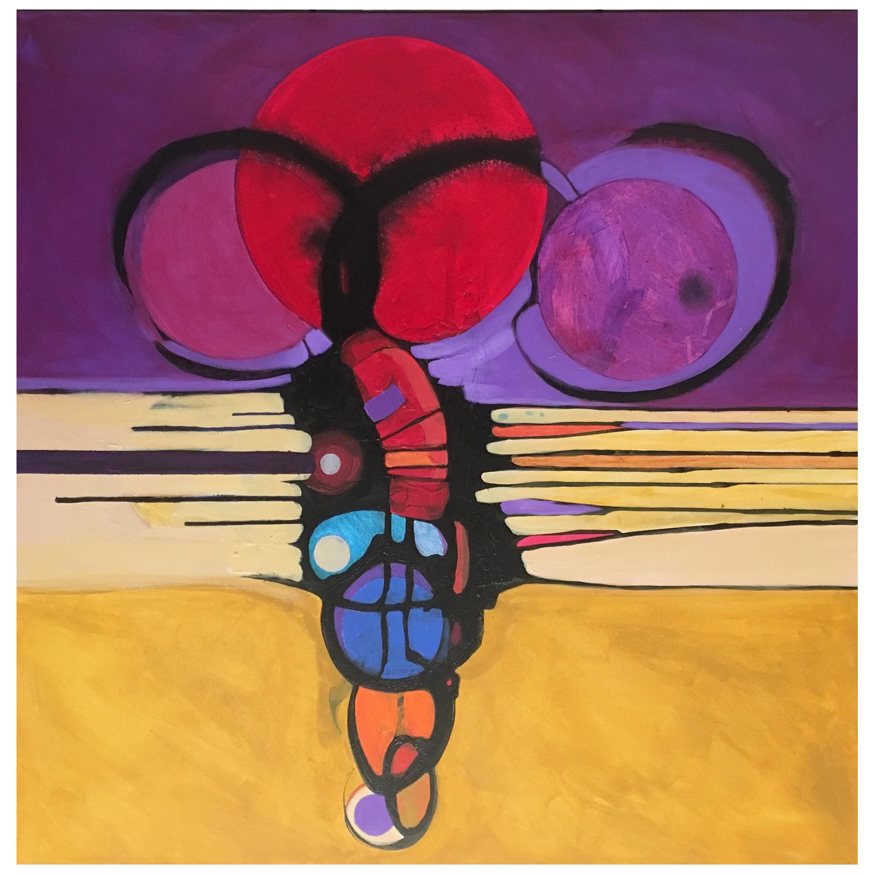 Marlene Burns Modern Abstract Acrylic Mixed-Media Painting Titled e-Volve, 2018