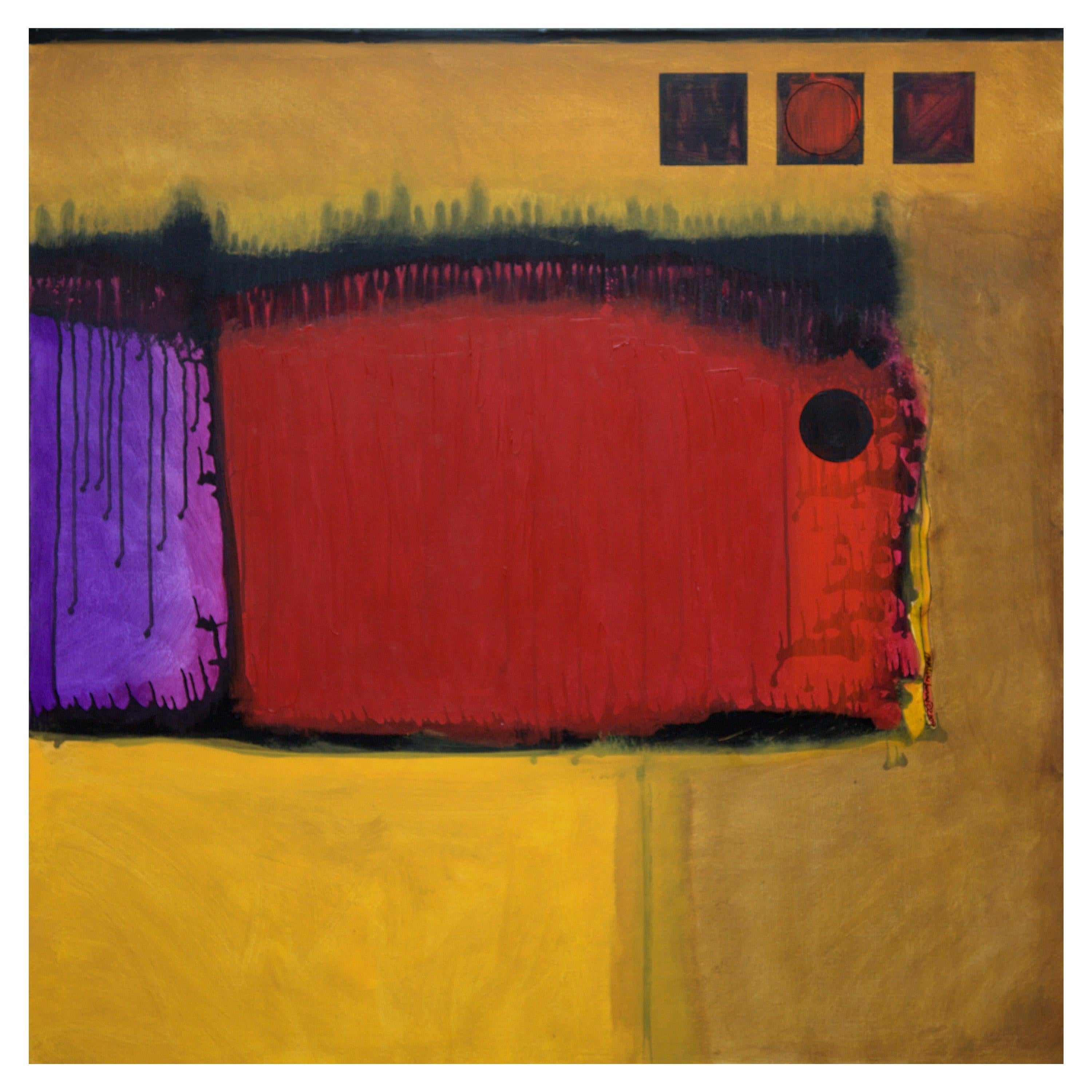Marlene Burns Modern Abstract Acrylic Mixed-Media Painting Titled Statement 2009