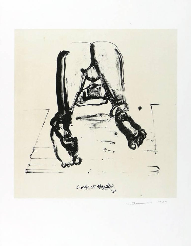 Marlene Dumas Figurative Print - Lonely at the Top, Lithograph, Contemporary Art, 20th Century