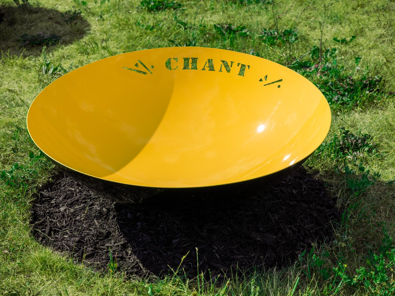 Chant - bright, dynamic, narrative, painted stainless steel outdoor sculpture