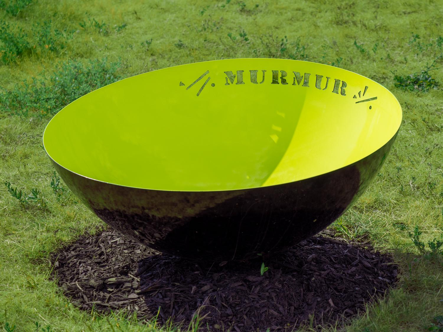 Murmur - bright, dynamic, narrative, painted stainless steel outdoor sculpture