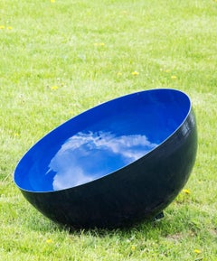 Outdoor Garden Sculpture Singing Bowl Ultramarine Sky Medium by Hilton Moore