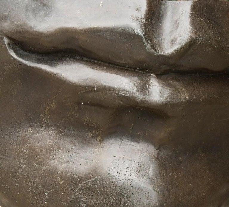Silent - large, figurative, narrative, bronze outdoor sculpture - Gold Figurative Sculpture by Marlene Hilton Moore