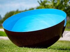 Singing Bowl Cerulean Sky Medium - outdoor stainless steel sculpture in blue