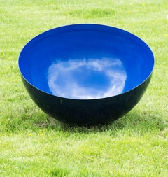 Steel Outdoor Sculpture Singing Bowl Ultramarine Sky Large by Hilton Moore