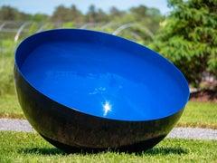 Singing Bowl Ultramarine Sky Large - painted stainless steel garden sculpture