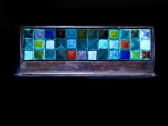 """Aqua Horizontal Pyramid Quilt,"" sand cast glass sculpture, forged metal base"