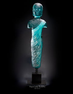 """Aqua Lady Buddha,"" Pigmented sand-cast glass sculpture, hand forged metal base"
