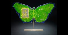 """""""Lime Green Moroccan Butterfly"""", Pigmented sand-cast glass, hand forged metal"""