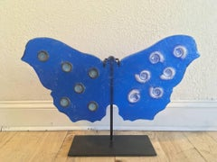 Vibrant Blue with Ammonites and Rings Butterfly