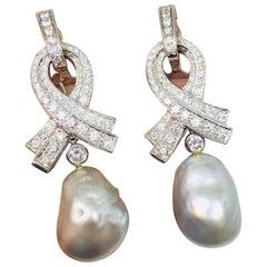 Marlene Stowe 18 Karat Gold 2.62 Carats VS Diamond Baroque Pearl Dangle Earrings