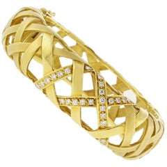 Marlene Stowe Crisscross Diamond Bangle Bracelet