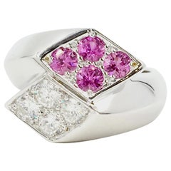 Marlene Stowe Diamond and Pink Sapphire 18 Karat White Gold Bypass Ring