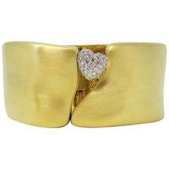 Marlene Stowe Diamond Heart Wide Hinged Cuff Bracelet in 18 Karat Yellow Gold