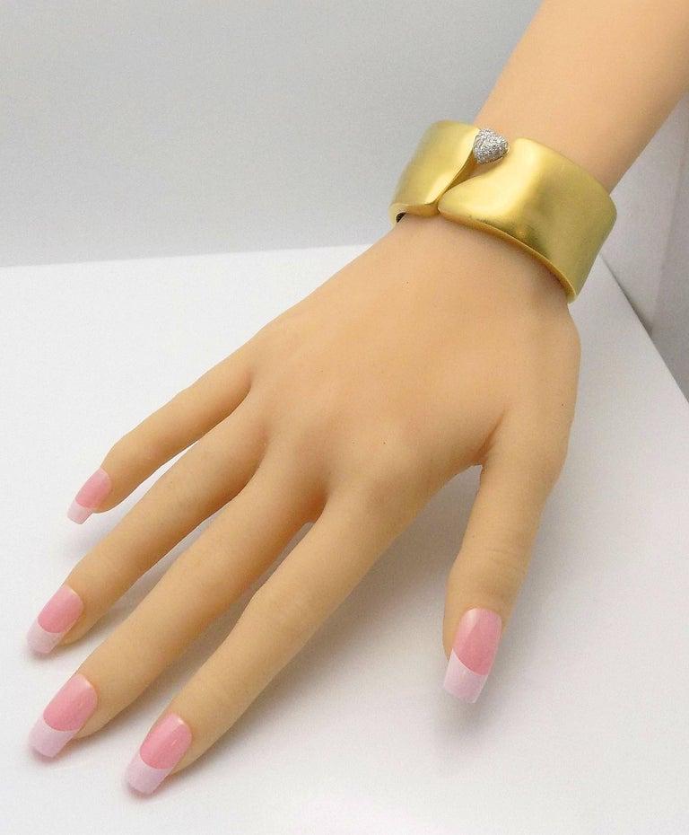 Round Cut Marlene Stowe Hinged Pave' Diamond Heart Bracelet, 18 Karat Yellow Gold/Platinum For Sale