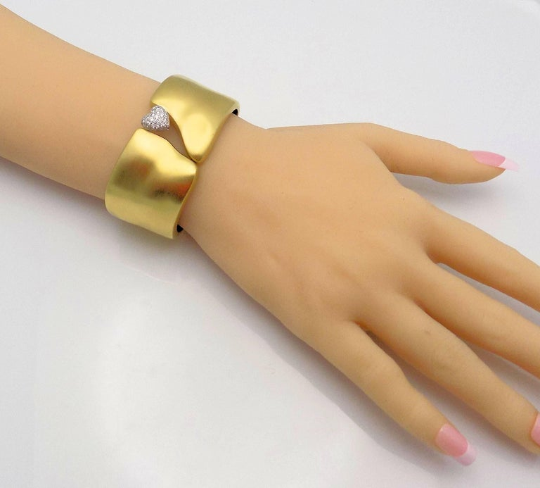 Women's Marlene Stowe Hinged Pave' Diamond Heart Bracelet, 18 Karat Yellow Gold/Platinum For Sale