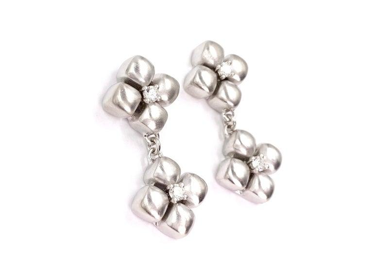 Contemporary Marlene Stowe Platinum and 18 Karat Diamond Flower Drop Earrings For Sale