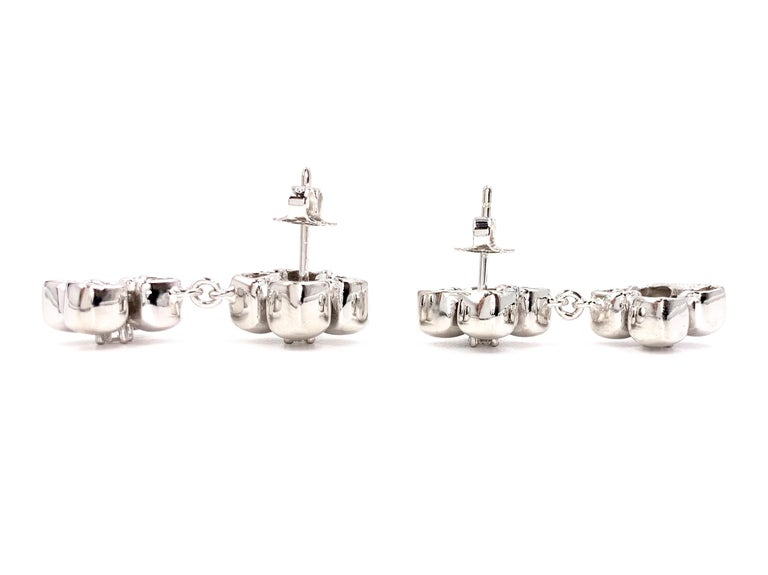 Round Cut Marlene Stowe Platinum and 18 Karat Diamond Flower Drop Earrings For Sale