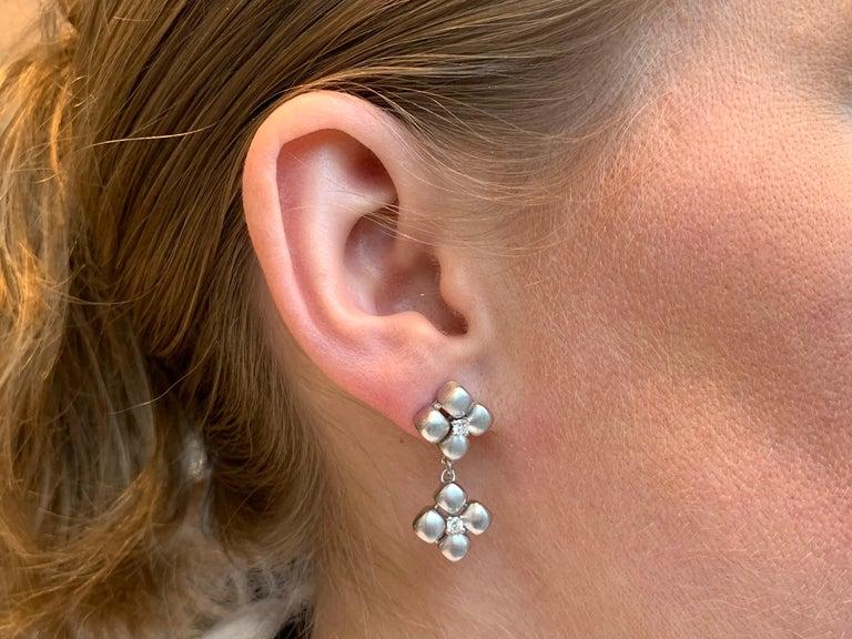 Women's Marlene Stowe Platinum and 18 Karat Diamond Flower Drop Earrings For Sale