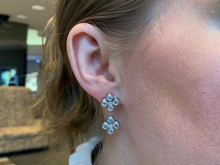Marlene Stowe Platinum and 18 Karat Diamond Flower Drop Earrings For Sale 1